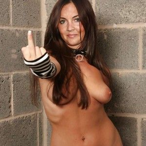 Tanned girl fists herself