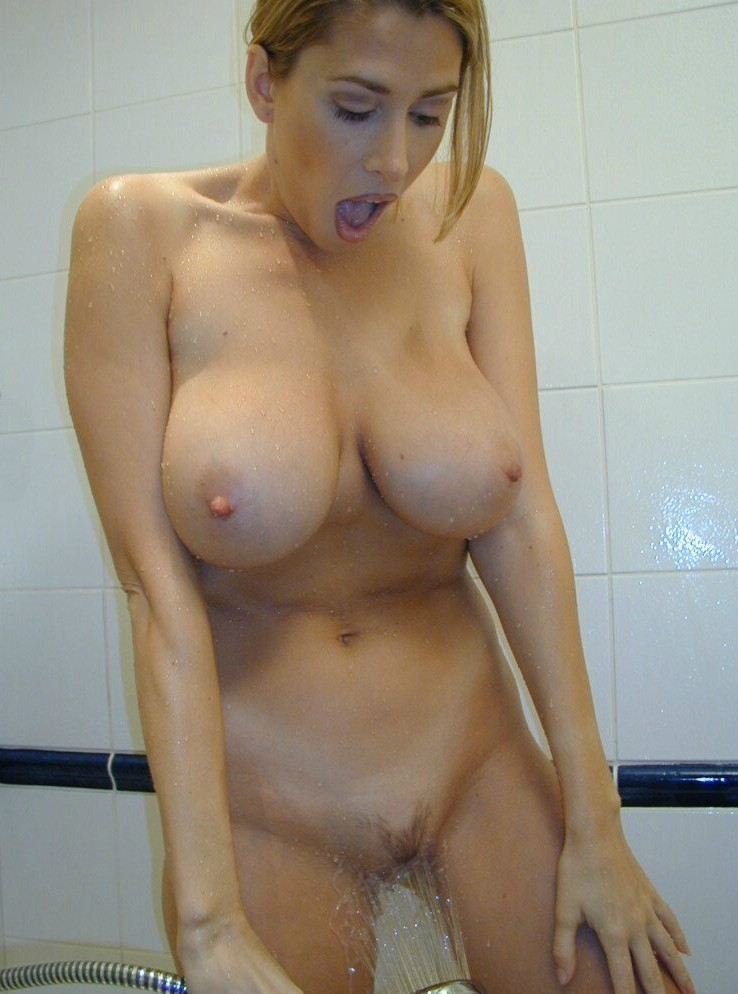 Nude blondes in shower