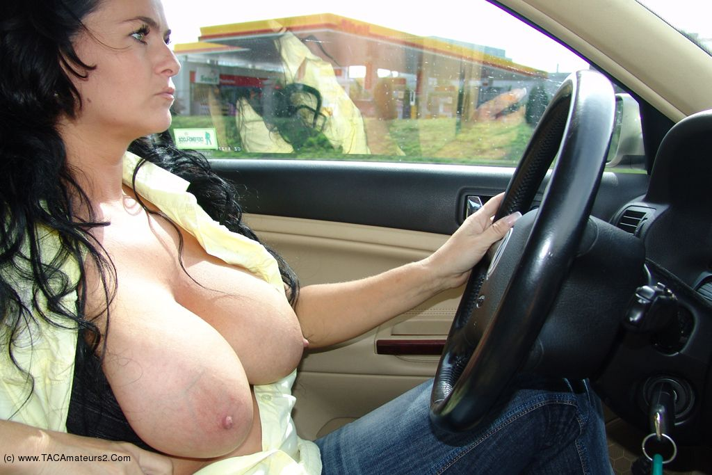 Naked girl driving bmw