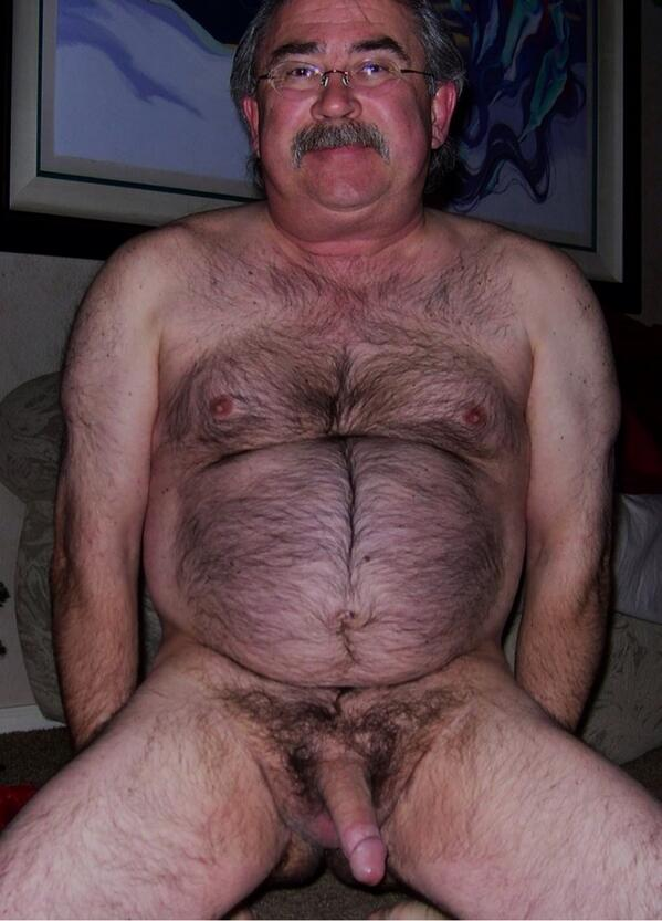 Naked hairy old fat man