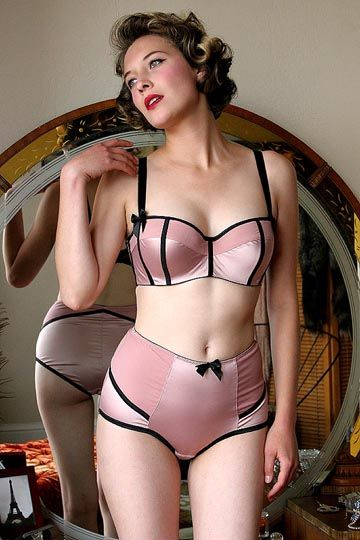 Satin bra and panty pin ups