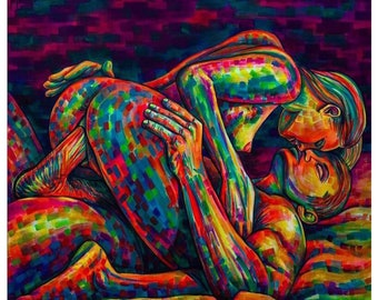 Indian couple nude painting
