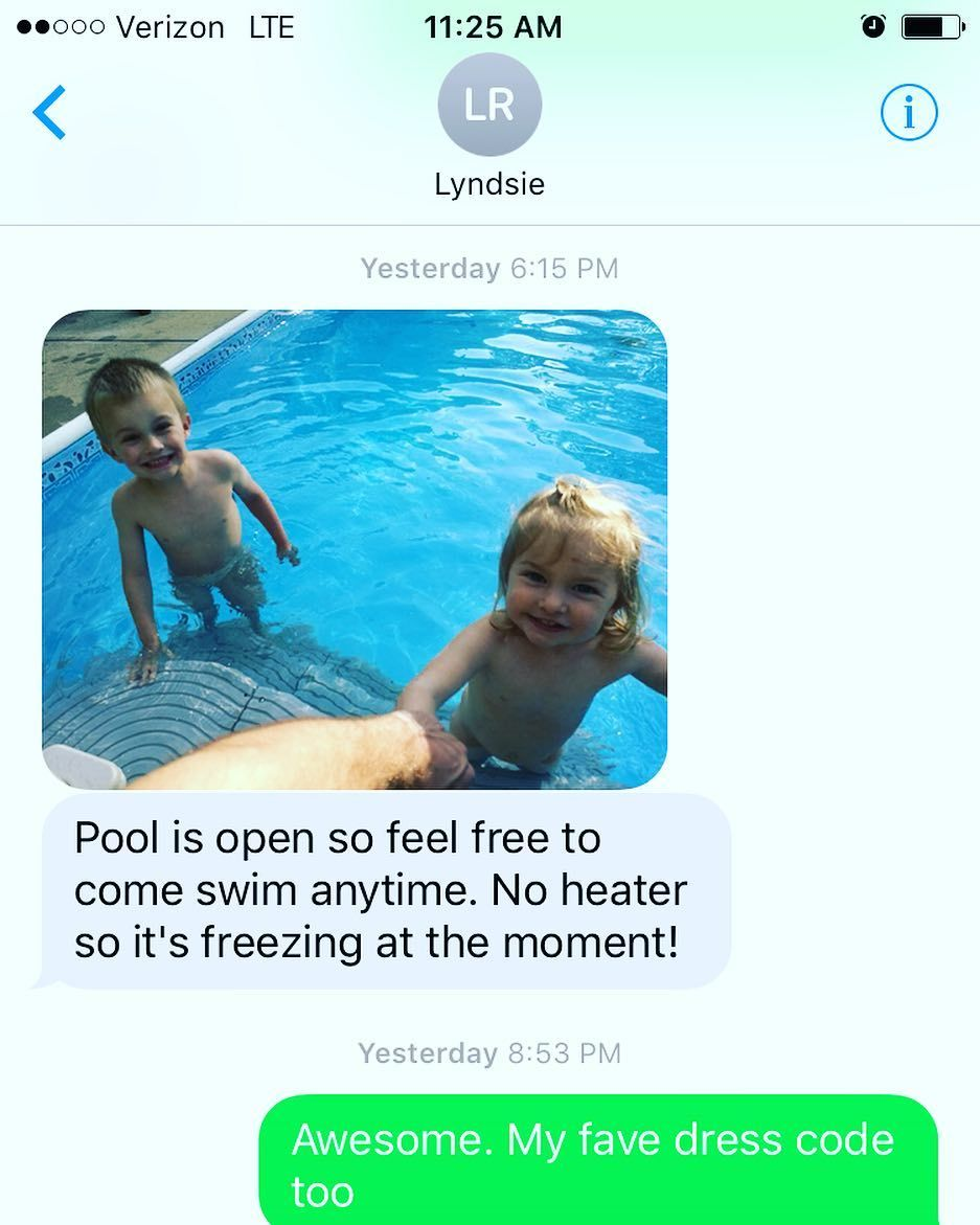 Cousins naked in pool