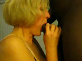 Mature interracial blowjob blonde
