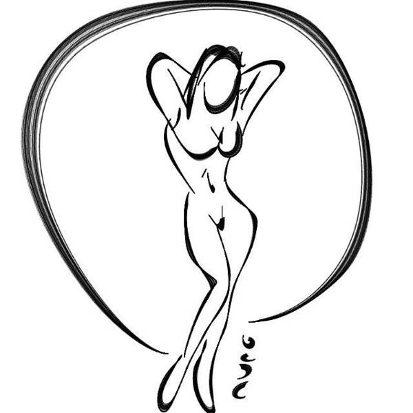 Cartoon nude drawing art