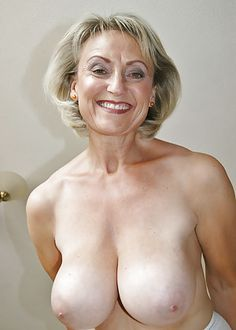 A aged woman breast naked