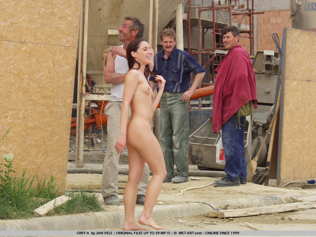 Girl naked in construction site