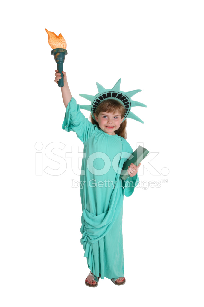 Dressed up as statue of liberty