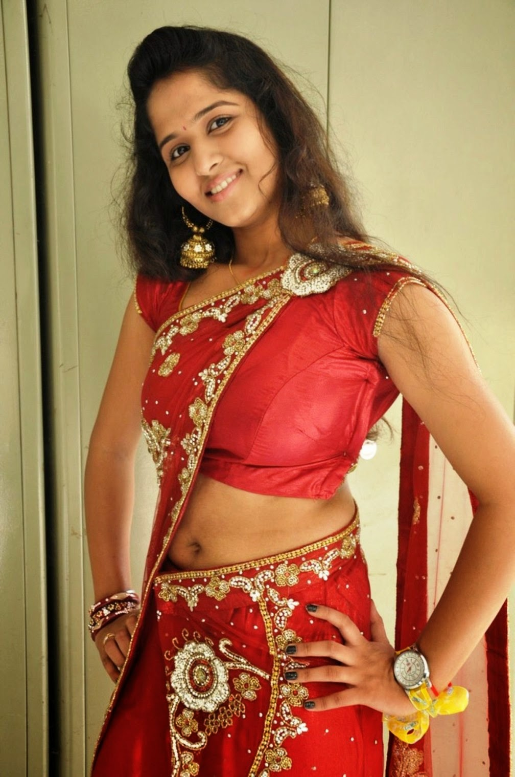 Nude desi boobs red blouse
