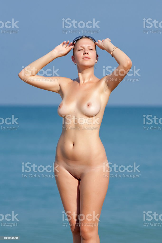 Nude woman at sea