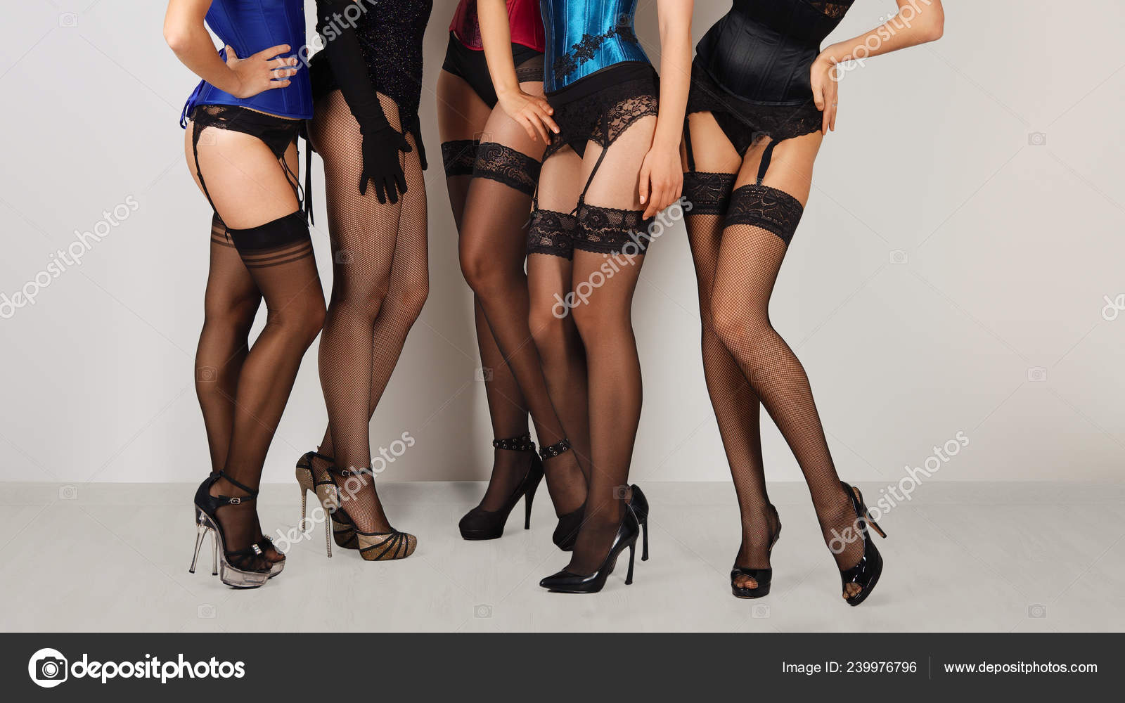 Sexy models in stockings and suspender belts