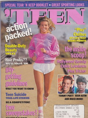 Teen girl sporting magazine subscriptions