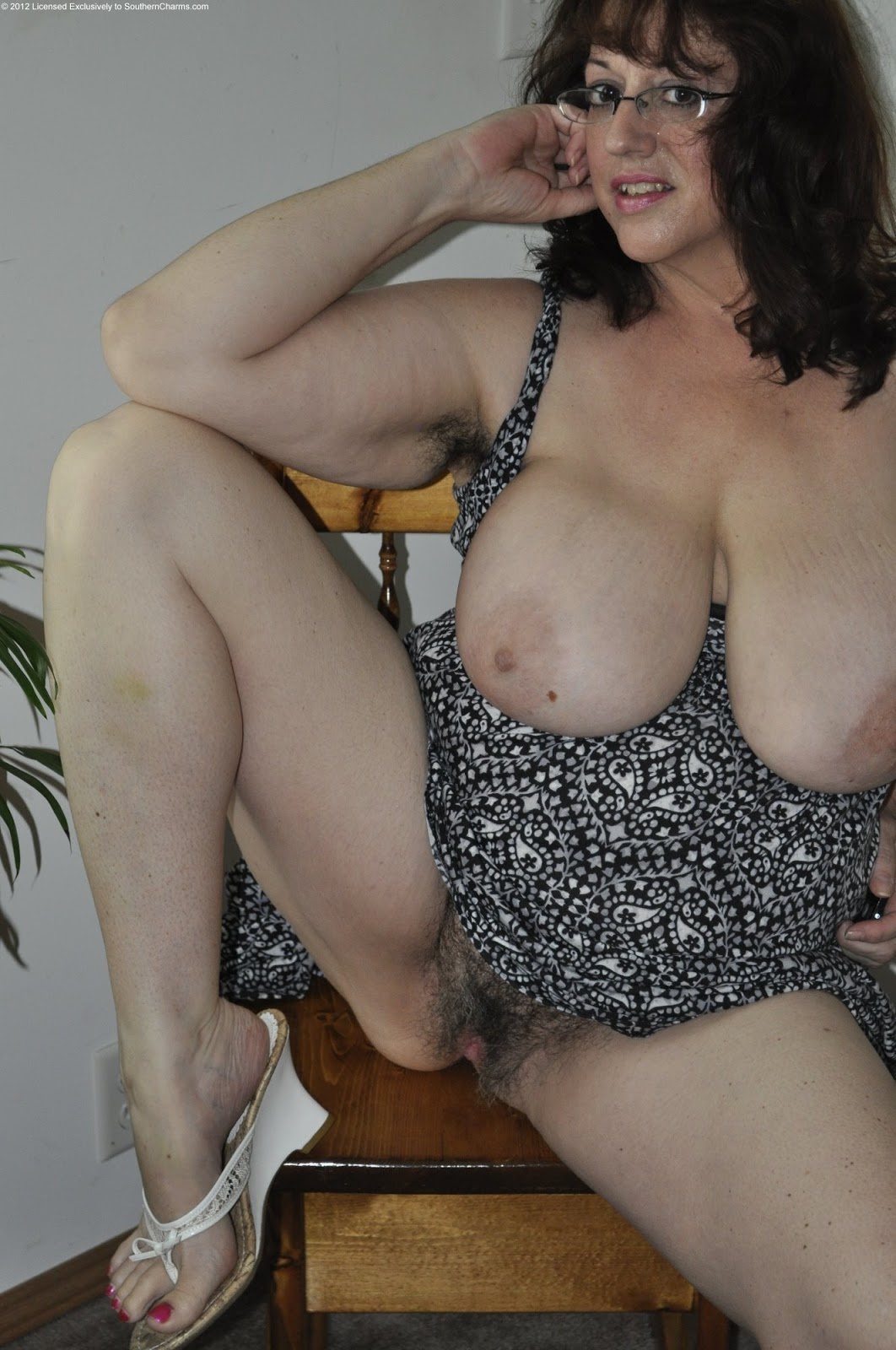 Mature wife hairy big belly