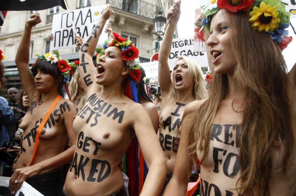 Muslim woman protest topless