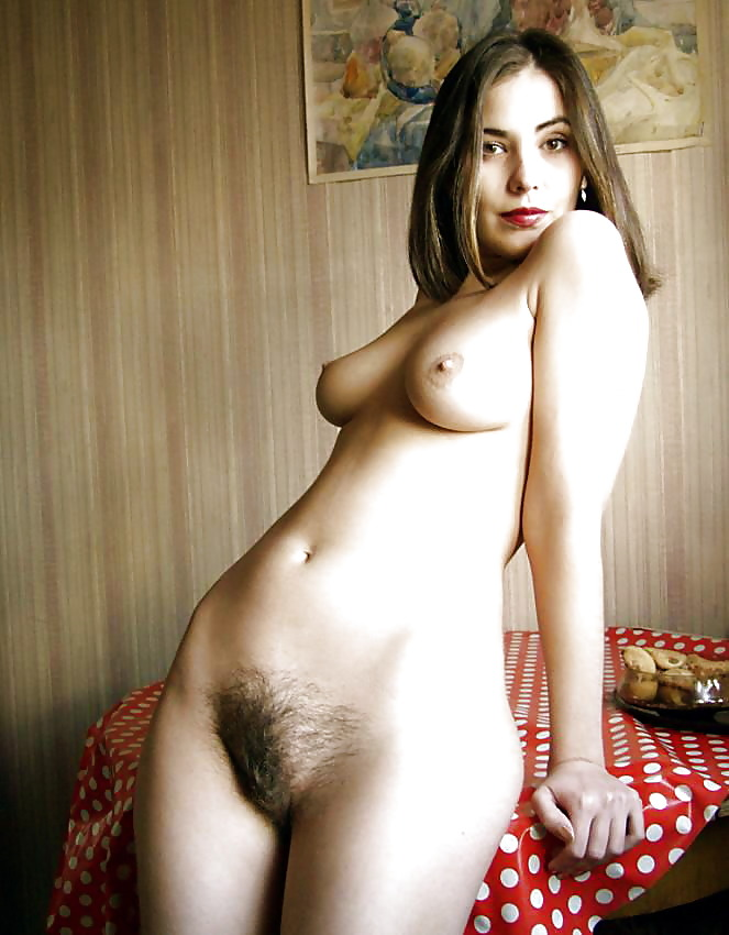 Standing nude woman hairy