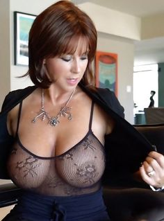 Milf big boobs see through top