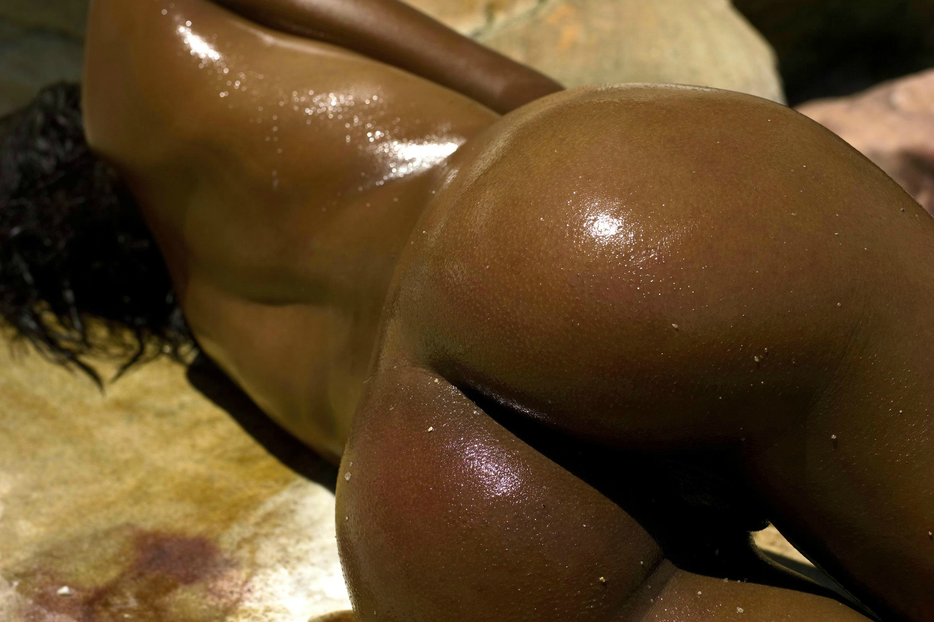 British naked oiled arse