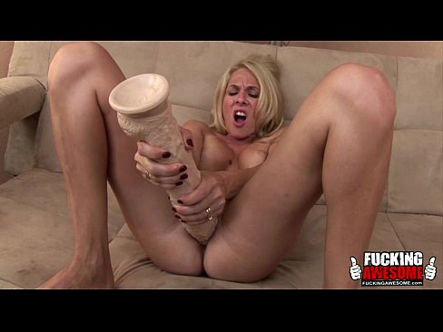 Blonde with huge dildo