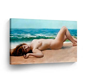 White naked pale beach girl